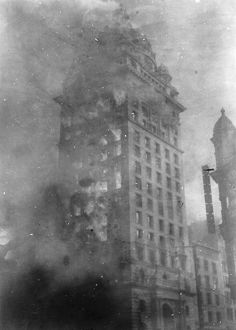 SAN FRANCISCO EARTHQUAKE. The home of the San Francisco 'Call' newspaper in flames