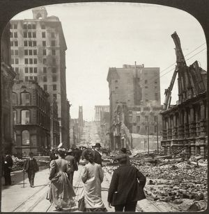 SAN FRANCISCO EARTHQUAKE. Men and women walking along the center of California