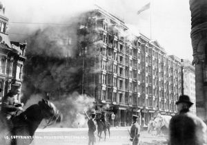 SAN FRANCISCO EARTHQUAKE. The Palace Hotel on fire, following the earthquake of 18