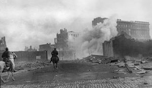 SAN FRANCISCO EARTHQUAKE. Policemen patrolling the burning streets on horseback