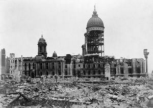 SAN FRANCISCO EARTHQUAKE. The ruins of City Hall, following the earthquake of 18
