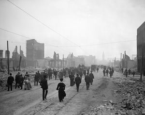 SAN FRANCISCO EARTHQUAKE. View of Market Street with pedestrians amid the rubble