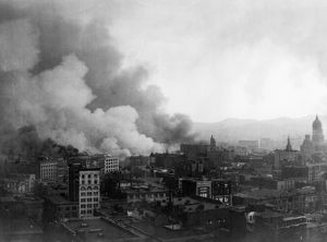 SAN FRANCISCO EARTHQUAKE. A view from the Stock Exchange building during the firestorm