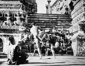 Scene at a Buddhist temple in Indonesia, 1954.