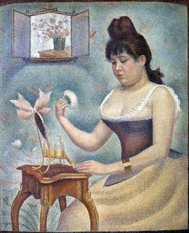 SEURAT: KNOBLOCH, 1889-90. Madeleine Knobloch seated at a powder table