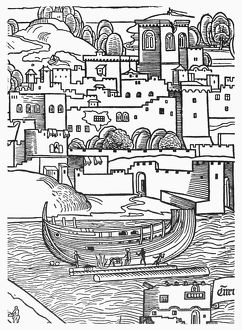SHIPBUILDING, 1486. The beaming of a ship. Detail of a woodcut, 1486