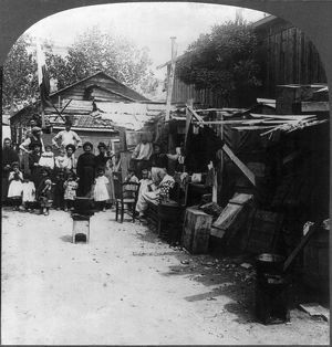 SICILY: REFUGEES, c1909. A refugee camp for survivors, following the earthquake in Messina