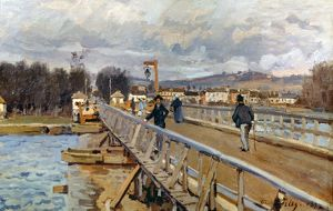 SISLEY: FOOT-BRIDGE, 1872. The Foot-bridge of Argenteuil. Oil on canvas by Alfred Sisley.