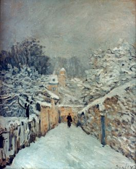 SISLEY: LOUVECIENNES, 1878. The Snow at Louveciennes. Oil on canvas by Alfred Sisley.