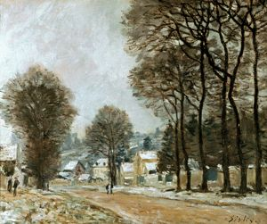 SISLEY: LOUVECIENNES, c1874. Snow at Louveciennes. Oil on canvas by Alfred Sisley.