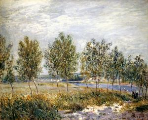 SISLEY: POPLARS. Poplars on a River Bank. Canvas, n.d, by Alfred Sisley.