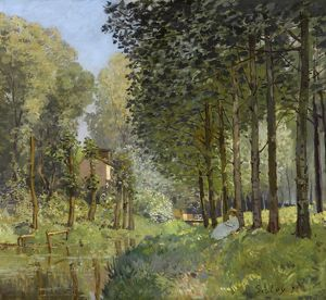 SISLEY: REST, 1878. 'Rest Along the Stream. Edge of the Wood.' Oil on canvas