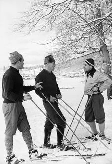 SOVIET OLYMPIC TEAM, 1960. Members of the 1960 USSR Olympic skiing team. From left: Nikolay Anikin