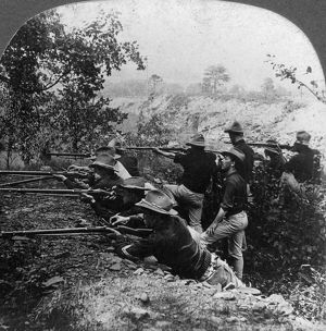 SPANISH-AMERICAN WAR, c1899. American soldiers in a trench during the Spanish-American War