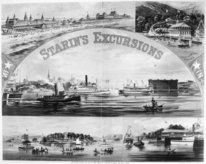 STEAMBOAT EXCURSIONS, c1878. Locations of luxury excursions around New York