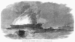 STEAMSHIP FIRE, 1867. The burning of the American steamship 'Andalusia' at