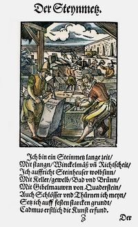 STONEMASONS, 1568. Woodcut, 1568, by Jost Amman