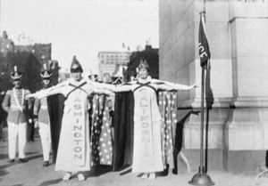 SUFFRAGETTES, 1915. Suffragettes Marion Parkhurst and Catherine Howard at a demonstration