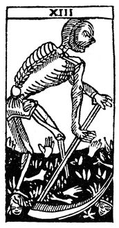 TAROT CARD: DEATH. 'Death.' Woodcut, French, 16th century