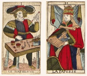TAROT CARDS, c1700. The first two atouts of a tarot series, 18th century