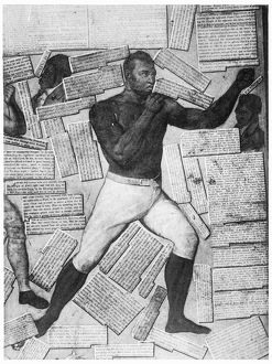 Thomas Molineaux, one of America's first black boxers, featured on a detail