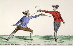 A thrust in epee or foil fencing. Copper engraving, French, mid-18th century