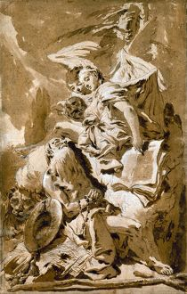 TIEPOLO: SAINT JEROME. 'Saint Jerome in the Desert Listening to the Angels