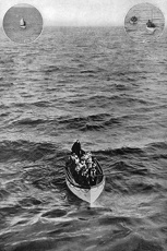 TITANIC: LIFEBOAT, 1912. 'Titanic' survivors in a lifeboat approaching the