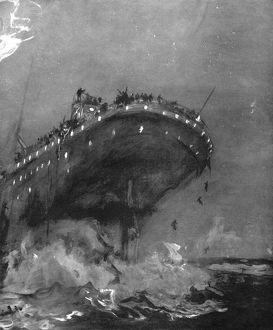 TITANIC: SINKING, 1912. The 'Titanic' 15 minutes before she sank, on the night
