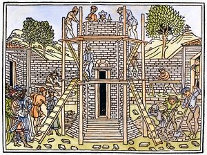 TOWER OF BABEL. Woodcut from 'Supplementum Chronicarum,' Venice, 1490