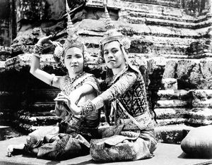 Traditional dancers at the temple of Angkor Wat, Cambodia. Photographed c1960.