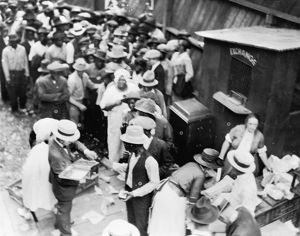 TULSA RACE RIOT, 1921. Black residents receiving aid during the race riot in Tulsa