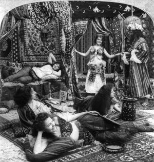 TURKISH HAREM, c1900. Constantinople, Turkey. Stereograph, c1900