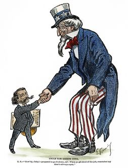 UNCLE SAM, 1902. 'Uncle Sam greets Cuba.' Cartoon by Thomas Fleming, 1902