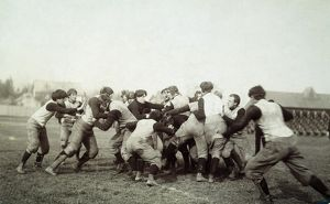 An unidentified American college football scrimmage, c1905