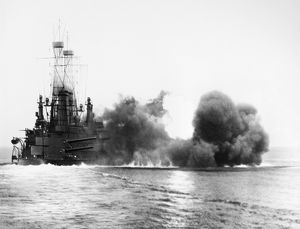 USS MICHIGAN, 1912. The USS Michigan firing a broadside. Photograph by Enrique Muller