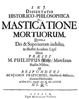 VAMPIRISM TEXT, 1679. Title page of Philip Rohr's dissertation on vampirism, 'De