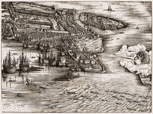 VENICE: HARBOR, c1500. Ships in the harbor of Venice