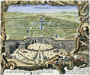 VERSAILLES, 1766. Engraved view of Versailles and its gardens from 'Nouveau Plan de Paris