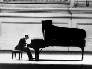 VLADIMIR HOROWITZ (1903-1989). American (Ukrainian-born) pianist, in concert at Carnegie Hall