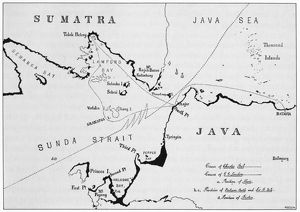 VOLCANO: KRAKATAU. The dark portions of the map indicate the coastal regions of Sumatra