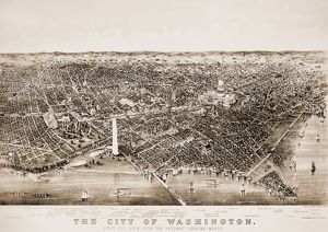 WASHINGTON D.C., 1892. Aerial view of Washington, D.C. Lithograph, 1892, by Currier & Ives