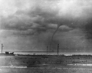 WATERSPOUT, 1896. A waterspout over Vineyard Sound between the mainland and Martha's