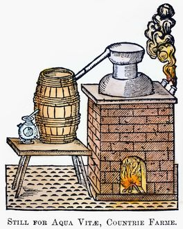 WHISKEY STILL, 1616. Woodcut, English, 1616