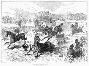 The Windsor Steeplechase, England. Wood engraving, 1869