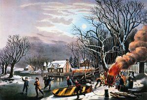 WINTER SCENE: EVENING 1854. Lithograph, 1854, by Nathaniel Currier.
