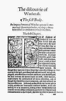 WITCHCRAFT, 1584. First page of Reginald Scot's 'The Discouerie of Witchcraft