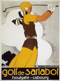 Woman golfer featured on a French tourist poster for the Brittany resort area, c1930