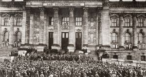 WORLD WAR I: BERLIN, 1919. Crowds assemble to protest the terms of the Treaty of