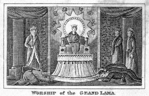 'Worship of the Grand Lama.' Line engraving, American, 1832.